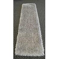 Light Gray Titanium Silver Shaggy Shag Area Rug Hallway Runner 2x7 High End Designer Quality Carpet Bedroom Bathroom Living Room Hallway