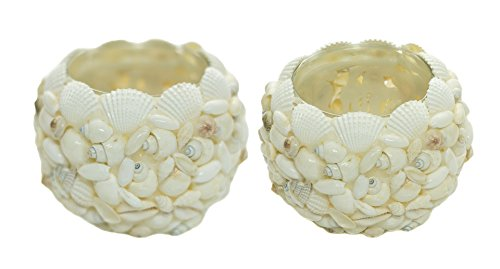 Beach Candle Holder | Glass Covered White Seashell Votive Candle Holder | Perfect Seashell Decor for Bathroom | 2 piece Set | Plus Free Nautical Ebook by Joseph Rains