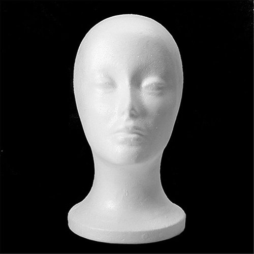 Connoworld Practical Female Styrofoam Foam Mannequin Head Model Professional Bald Manikin Head Mask Hat Wig Hair Jewelry Headset Scarves Glasses Stand Tool Showcase Display Props Holder by Connoworld (Image #2)