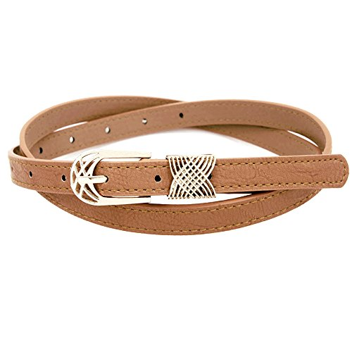 Skinny Belt w/ Intricately Designed Golden Buckle - Intricately Designed
