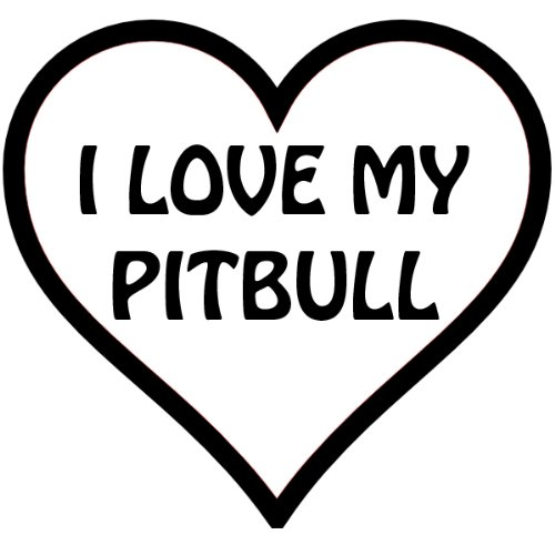I Heart My Pit bull, In A Heart , Vinyl Car Decal, 'Pink', '15-by-15 inches'