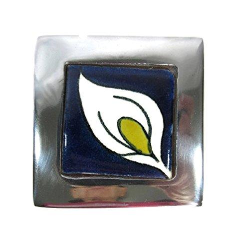 - El Relicario de Los Tesoros Solid Pewter & Talavera Tile Square Trinket Box Mexican Folk Art (White Lily)