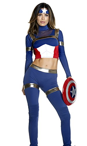 Best Tv Themed Costumes (Forplay Women's Fine Fighter Sexy Comic Book Hero Costume, Blue, M/L)
