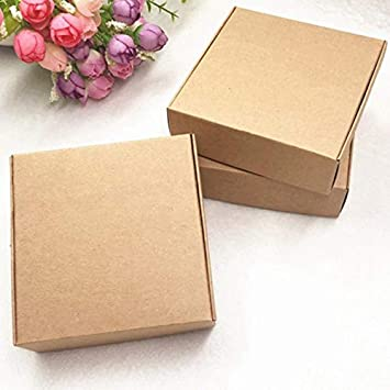 SNOWINSPRING 100 X//Lote Peque?A Caja de Papel Kraft Cart/óN Caja de Jab/óN Hecha a Mano Caja de Regalo de Papel Artesanal Embalaje Caja de Joyer/íA Blanco