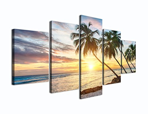Modern Beach Painting Beautiful Large Sunset Landscape Ocean Pictures Framed Stretched for Living Room Home Decor Posters and Prints Seascape Wall Art Painting on Canvas 5 Piece(60''W x (Sunset Ocean)