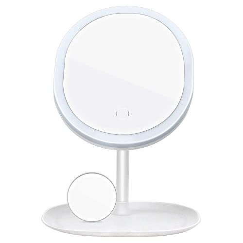 MBQMBSS Makeup Mirror Portable Desk Vanity Mirror with Lights Makeup Mirror 5X Magnification Makeup Mirror Vanity Mirror with Lights – 3 Color Lighting Modes Makeup Mirror and Storage White