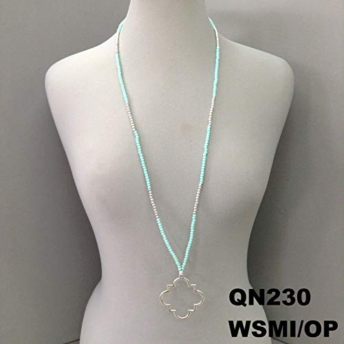 Simple Quatrefoil Outline Pendant Mint Beads Silver Finish Necklace QN230WSMI/OP ()