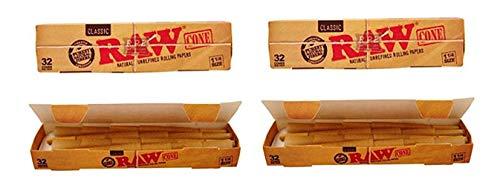Raw Classic Natural Unrefined 1 1/4 Pre-Rolled Rolling Paper Cones, 32 Per Box, 100 Gram (2 Pack)