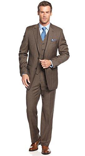 Ralph Lauren Men's Wool Light Brown Plaid 3-Piece Slim Fit Suit 40 Long Pants 34W
