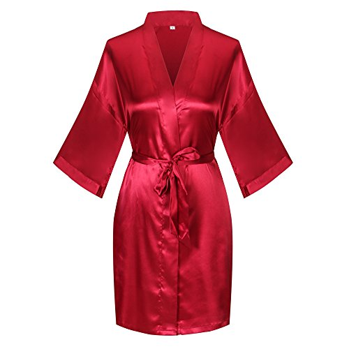 Old-to-new Wedding Short Satin Kimono Robe with Rhinestones for Bridesmaid Red M - New Red Rhinestone
