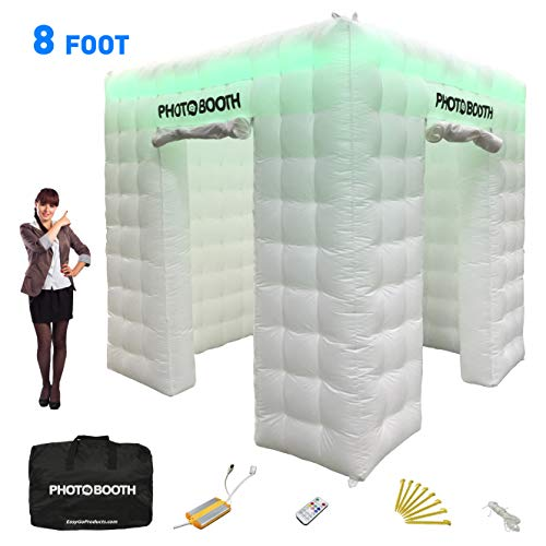 Photo Booth - Large 8' x 8' Portable Inflatable Photobooth Studio Tent Backdrop - LED Lit by Remote Control - Great for Parties, Weddings, Anniversary, Birthdays, Company Parties and Special Events -