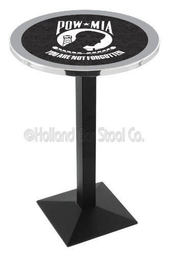 """Holland Bar Stool Co. L217C36 42"""" Tall Chrome United States Military Air Force Licensed Pub Table, Black, 28"""""""