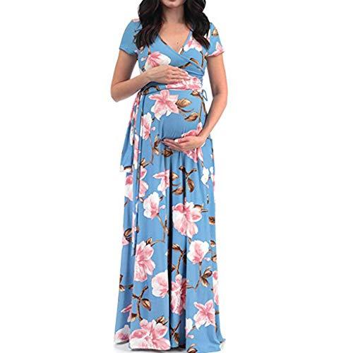 Maternity Maxi Dress Forthery Womens Pregnancy Comfort Breastfeeding Floral Printed Skirt Pregnant Dress(Light Blue,XXL=US 12)