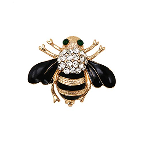 Enameled Silver Pin (Bersh Lirica Fashion Jewelry Enameled Black Bee Brooch Pin Gold And Silver Colors Animal Pin Women's Jewelry Brooches)