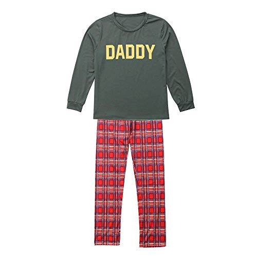 Fiaya 3PCS Christmas Family Matching Pajamas Set - Letter Top+Checks Pants+Santa Claus Hat Xmas Sleepwear Outfits Set (Men, XL)