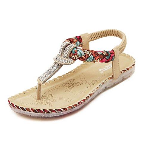 Mujer Bohemia Calzado Planos Sandalias con Cuña Dulce de abalorios sandalias del dedo del pie del clip Albaricoque