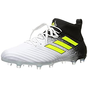 adidas Men's Ace 17.2 Firm Ground Cleats Soccer Shoe, White/Solar Yellow/Black, (10 M US)