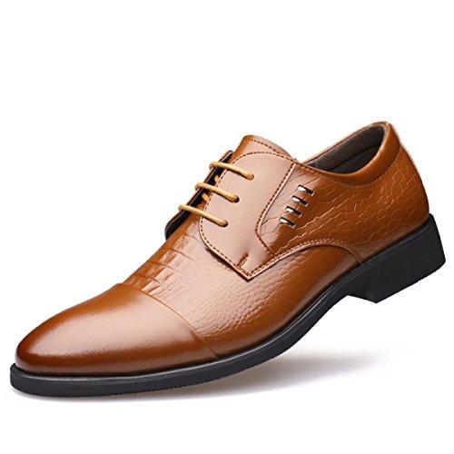 GRRONG Vestimenta Formal Zapatos De Cuero De Los Hombres De Negocios Al Apuntado Negro Marrón Yellow