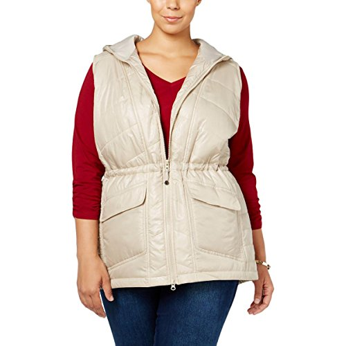 Style & Co. Womens Plus Water Repellent Pattern Outerwear Vest Beige 1X