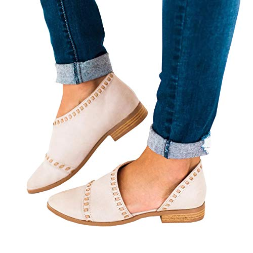 (FISACE Womens Casual Slip-On Loafer Pointed Toe Cut Out Slip on Office Casual Dressy Ankle)