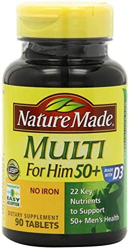 Nature Made Multi for Him 50+ 90 Tablets, Packaging May Vary