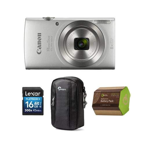 Canon PowerShot ELPH 180 Point Shoot Digital Camera, 20.MP, 8X Optical Zoom Lens, and AccessoryBundle (Silver)