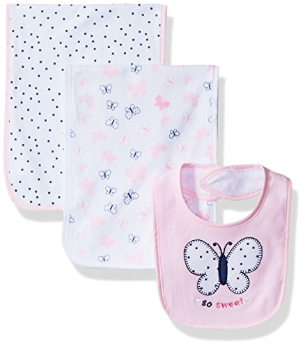 BON BEBE Baby Butterfly Assorted 3 Pack Bib and Burp Cloth Set, Pink Hearts/Butterflies, New Born