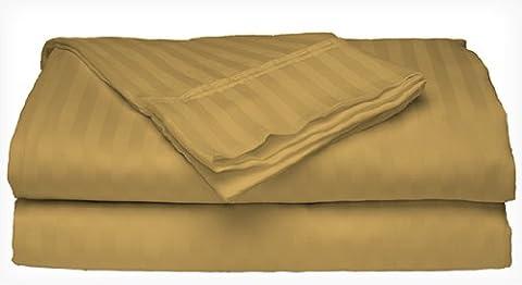Queen Size 400 Thread Count 100% Cotton Sateen Dobby Stripe Sheet Set -Gold - Cotton Stripe Sage