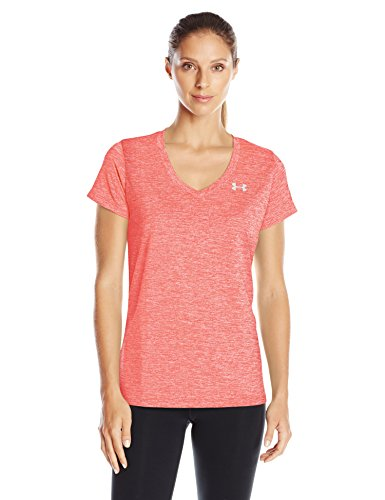 Under Armour Womens Tech V-Neck Twist T-Shirt, After Burn (878)/Metallic Silver, X-Large