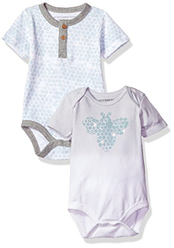 Burt's Bees Baby Unisex Baby Bodysuits, 2-Pack Organic Cotton Short & Long Sleeve One-Pieces, Fog Honeycomb, 12 Months