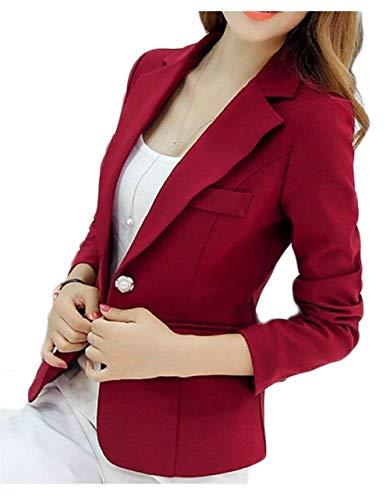 De Unicolore Longues Blazer Moderne Winered Revers Automne Style Manches Femme Loisirs Costume Affaires Courte Manteau Button Manteau Chic BRnxvvc58U
