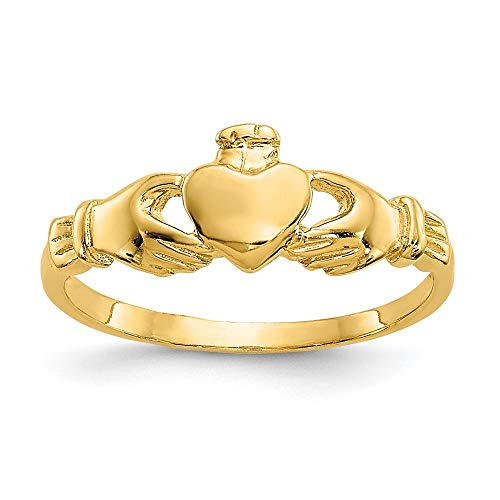 14K Yellow Gold 7 MM Madi K Claddagh Baby Ring, Size 1