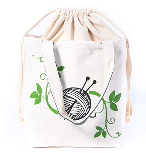 Knitting Tote Bag by Gretchens Meadow Knitting - Handmade for Projects, Storage for Yarn, Needles, Crochet Hooks - Foldable with Pouches, Great Organizer, Cotton w/Canvas Lining to Stand