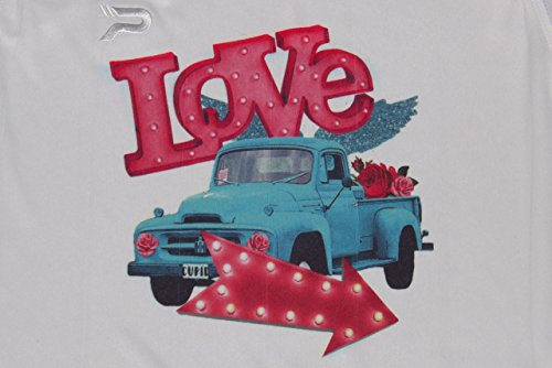 Bright Colored Love Vintage Truck Arrow Lights Flowers Happy Valentines Day Pink Youth T-Shirt Jersey Valentine's Day V-Day Child Gift