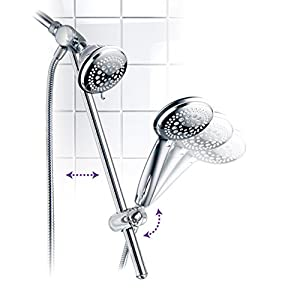 DreamSpa Instant-Mount Drill-Free Height/Angle Adjustable 3-way Multi-Shower Slide Bar