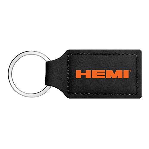 iPick Image - HEMI Logo in Color Rectangular Black Leather Key Chain Key-Ring for Dodge Challenger Charger SRT Jeep RAM