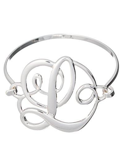 Designer Silver-tone Filigree Wire Bracelet by Jewelry Nexus (Monogram Initial Bracelet)
