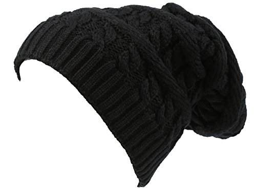 Sakkas 16149 - Figaro Long Tall Classic Cable Knit Faux Fur Lined Unisex Beanie Hat - Black - OS