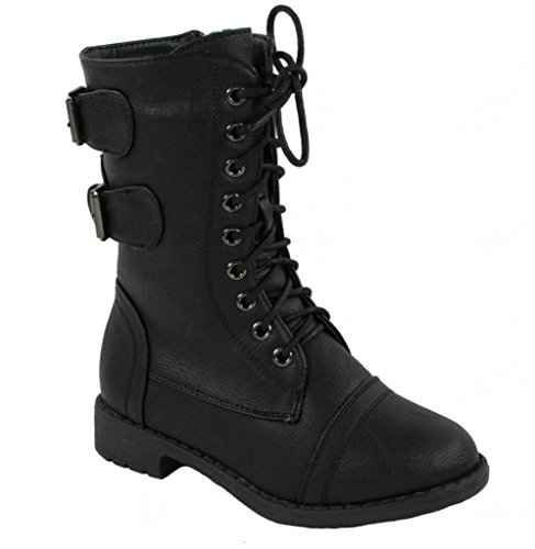 Lucky Top Girls Faux Leather Combat Boots