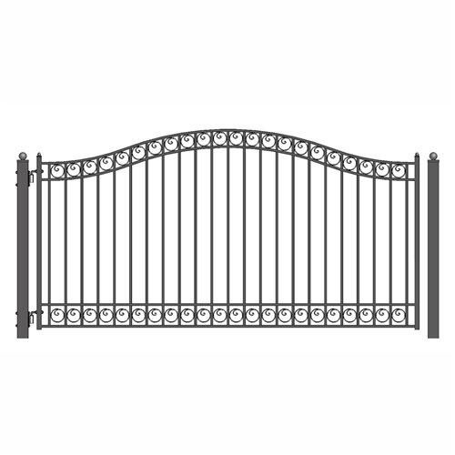 [ALEKO Dublin Style Iron Wrought Single Swing Steel Driveway Gate (18' X 6 1/4')] (Wrought Steel Single)