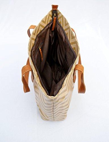 Laminato Tote bag beige, cotone, stampa chevron, finitura lucida, finiture in pelle, chiusura zip, Everyday bag.