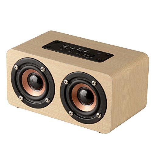 LEDMOMO Bluetooth-luidspreker – hout HiFi dual speaker draagbare draadloze luidspreker met TF-kaart AUX IN MP3-speler…