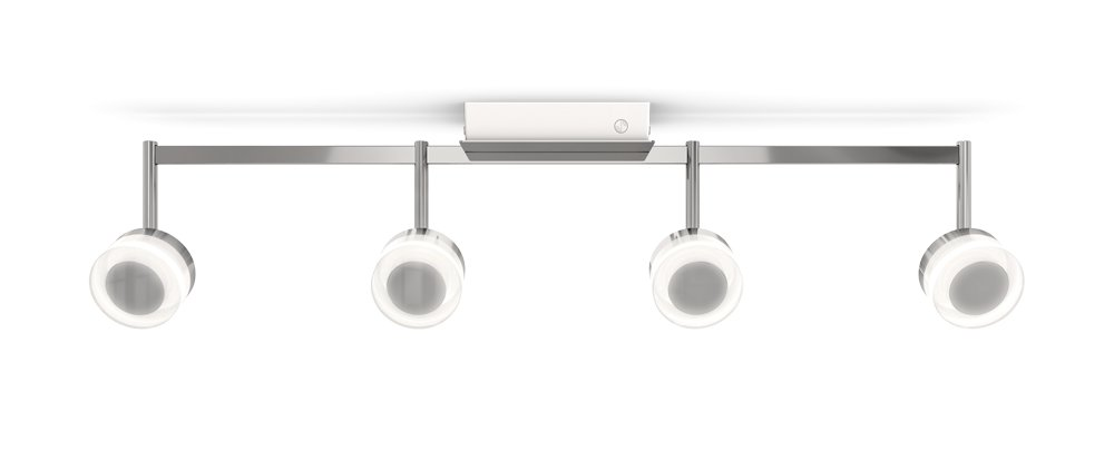 Smartika HALO LED Integrated Smart Track-Light Fixture, Adjustable, 4 Lights, Chrome Finish, Works with Alexa