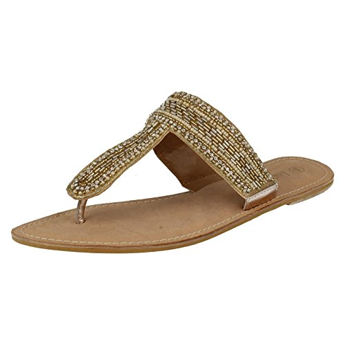 Spot On Leather Collection Damen, perlenbesetzt, Sandalen-F0895 Gold