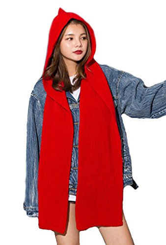 Young_Me Parent-child Winter Knit Hooded Scarf Headscarf Neck Warmer Hoodie Hat