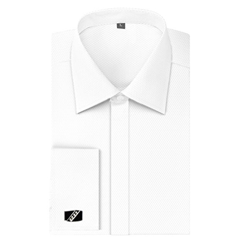 Men's Shirts French Cuff Solid Regular Fit Long Sleeve Dress Shirts With Metal Cufflinks And Metal Collar Stays (XXX-Large - 17.5