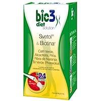 Bio3 Diet Solution - Svetol, Biotina, Alcachofa, Piña, Fibra, Té Verde Y Phaseolus - 24 Sticks - Agradable Sabor…