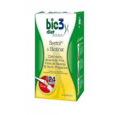 Bio3 Diet Solution - Svetol, Biotina, Alcachofa, Pina, Fibra, Te Verde Y Phaseolus - 24 Sticks - Agradable Sabor - Diluir En Agua Y Tomar - Recomendado Por Expertas De EnFemenino - Envio Gra