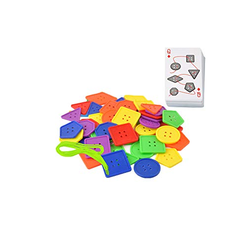 Preschool Lacing Toy Plastic Geometry Buttons Lacing Game Autism Fine Motor Skills Montessori Toys Educational Toys for Toddlers Kids