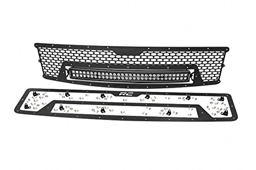 Rough Country - 70196 - Laser-Cut Mesh Grille w/ 30-inch Black Series Dual Row CREE LED Light Bar (Chevrolet Silverado 1500) for Chevrolet: 07-13 Silverado 1500 (Series Black Mesh)
